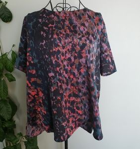 Halston silky blouse high low hem and exposed zip